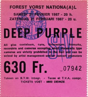 Deep Purple live at Forest National - 21 Feb 1987